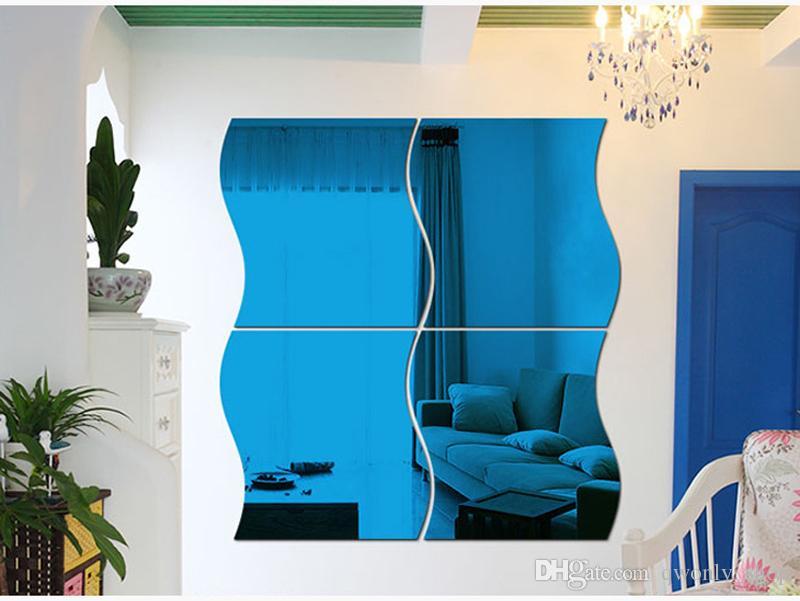 Große Wellenförmige Spiegel Wandaufkleber Diy Kristall Wandaufkleber Abnehmbare Vinyl Wandtattoos Wohnkultur 3D Spiegel Aufkleber Für Das Bad