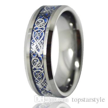 Китайский дракон 8 мм ювелирные изделия кольцо из карбида вольфрама кольцо синий фон серебряный дракон инкрустация для мужчин и женщин TUR-005