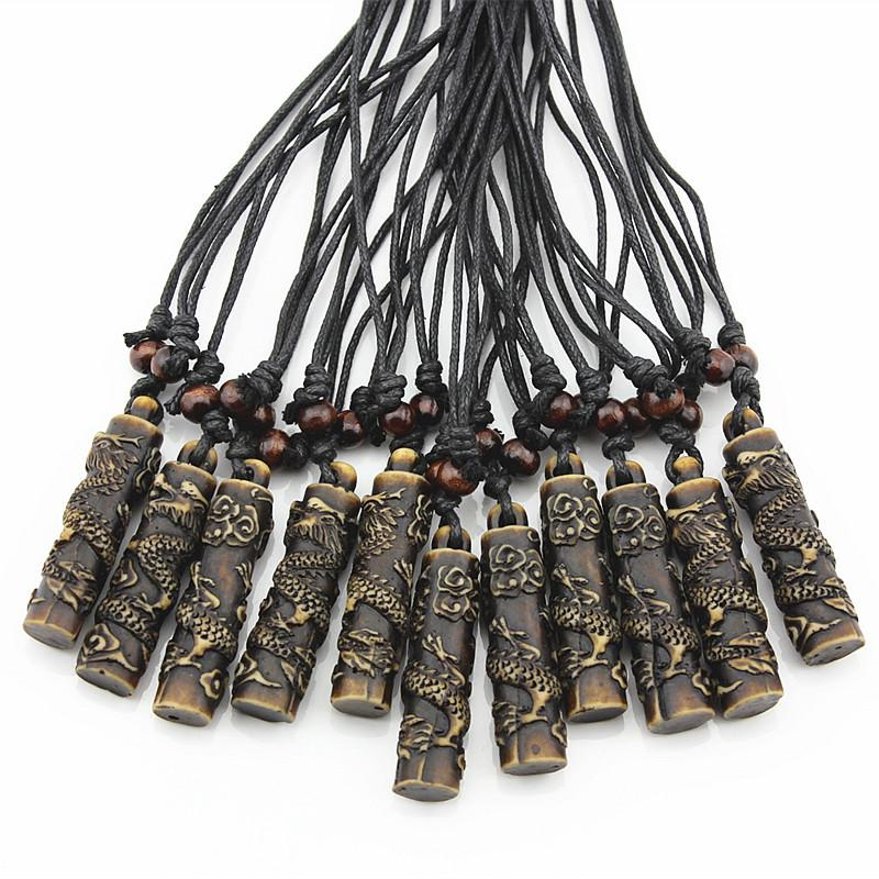 Wholesale COOL Simulation Bone Carving Totem Dragon Pendant Wood Beads Amulet Pendant Necklace Lucky Gift MN112