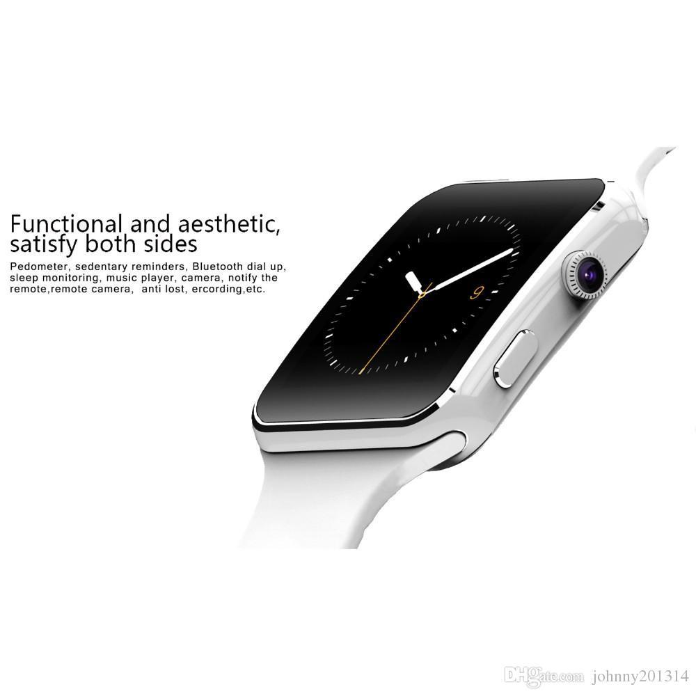 2019 bluetooth smart watch x6 ile smartwatch spor izci sync mesaj android için kamera desteği sim kart tf
