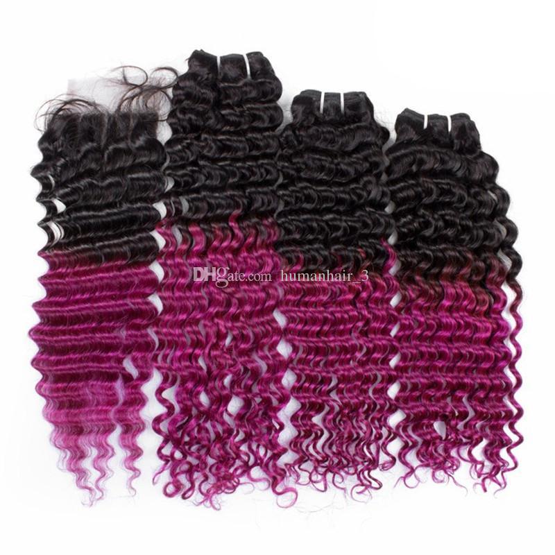 Chiusura di pizzo viola con pacchi Radice scura onda profonda ricci malesi capelli vergini 3 pani con chiusura in pizzo Ombre capelli tesse