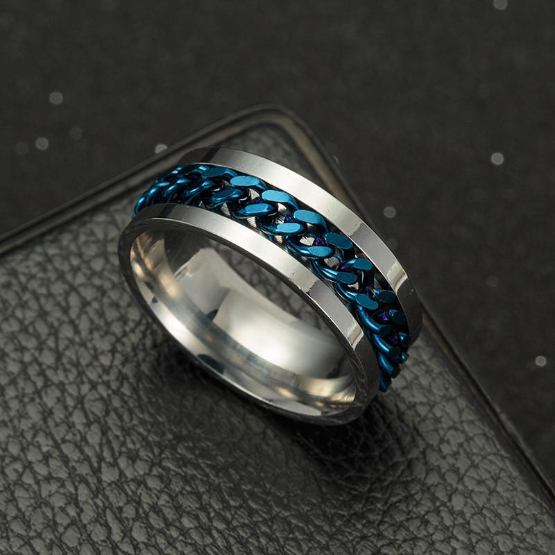 Fashion Rings Stainless Steel Link Chain Finger Ring Jewelry Size 5-12 For Women & Men Gift Party Dating Rings