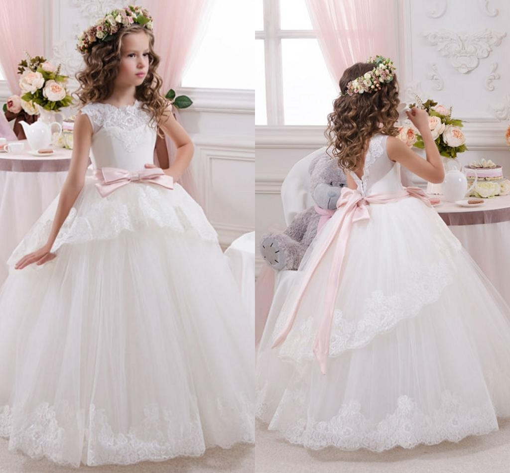 12c85ea9b90 Lovely Ball Gown Lace Flower Girls  Dresses Plus Size With Sleeveless Bow  Kids First Communion Dresses 2016 Pageant Dresses For Girls Jewel