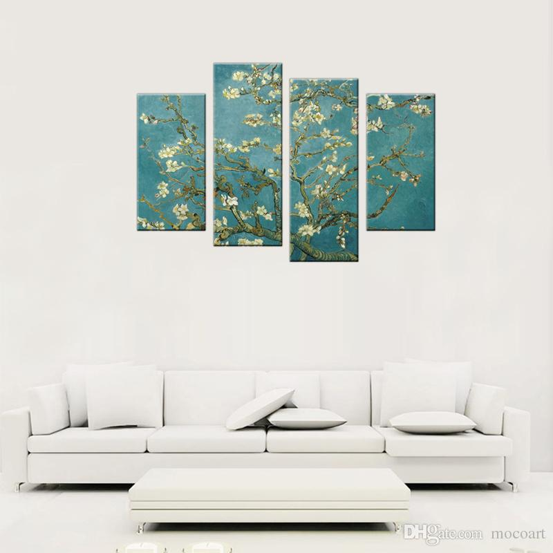 4 Panels Almond Blossom Painting Van Gogh's Artwork Wall Art Flower Picture Print with Wooden Framed For Home Living Room Decor