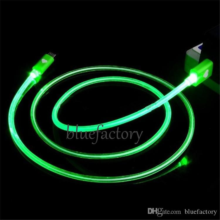 Loving Heart LED Micro Charging Cable USB 2.0 1M 3FT Data Sync Round Lead Glowing Cord for Samsung S7 S6 HTC LG