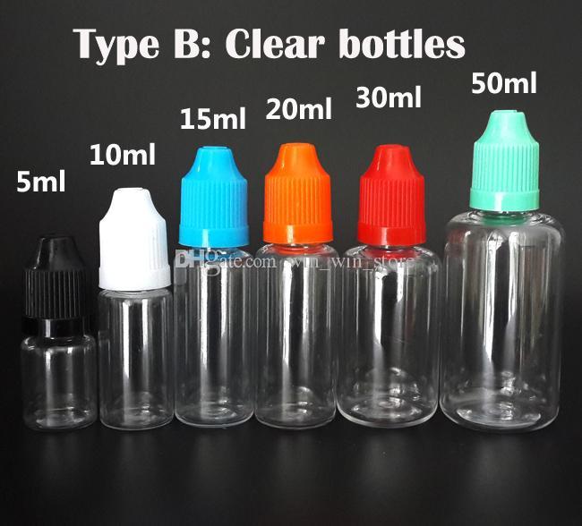 Agulha garrafa 3 ML 5 ML 10 ML 15 ML 20 ML 30 ML 50 ML PE / PET Vazio E Líquido E suco conta-gotas Garrafa com Tampas À Prova D 'Água preço de fábrica