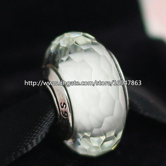 5шт 925 Sterling Silver White Захватывающий Грановитая муранского стекла бисер Fit Европейский Стиль Pandora Шарм ювелирные изделия Браслеты Колье-07