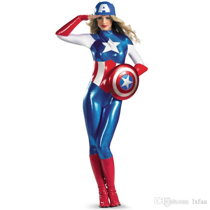 Supergirl Avengers Captain America Costume Women Adult Superhero Cosplay Sexy Catsuit Halloween Costume For Women Fun Group Halloween Costumes Adults Funny ...  sc 1 st  DHgate.com & Supergirl Avengers Captain America Costume Women Adult Superhero ...