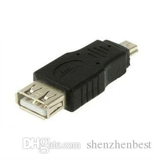 Wholesale Black Female USB 2.0 A to Male Mini 5 pin B Adapter Converter USB cable For MP3 MP4