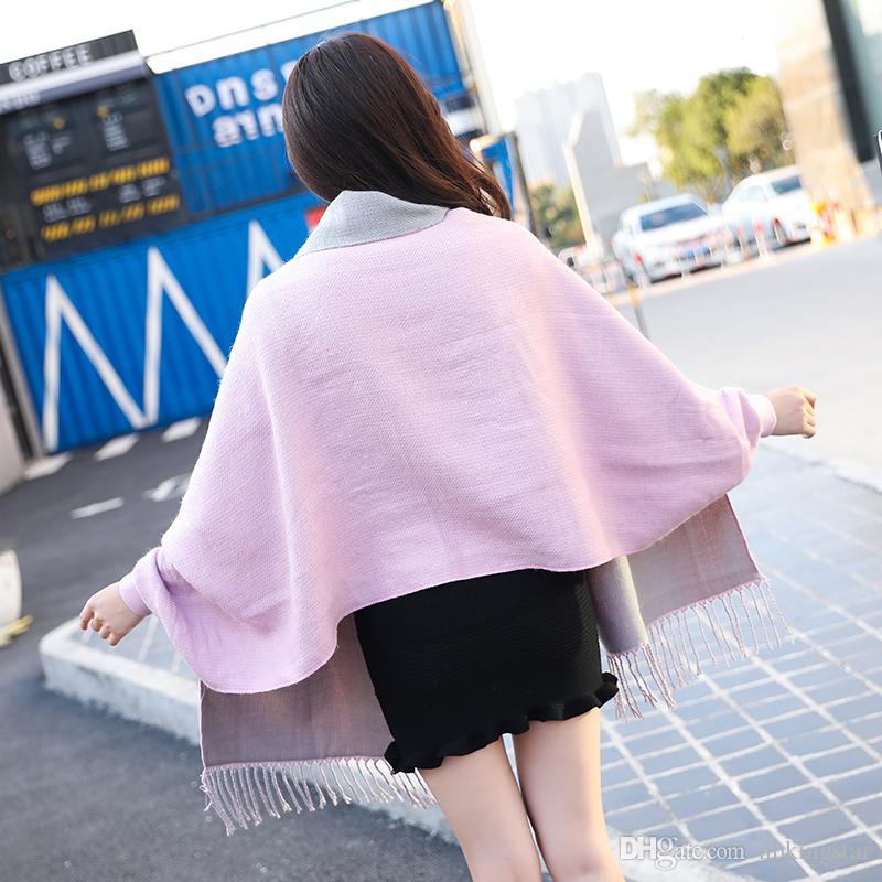 2017 الشتاء المرأة الدافئة الكشمير الاصطناعي شرابة المعطف مع جاكيت الصلبة محبوك المعتاد شال بالأزرار