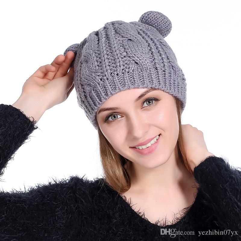 017 Winter Harajuku Woolen Knitting Beanie Devil Horns Cat Ear Crochet Braided Knitted Fur Cap Cute Girls Hat