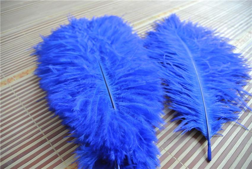 الجملة-شحن مجاني 100 قطعة / الوحدة 12-14 بوصة 30-35 سنتيمتر الملكي الأزرق النعامة الريشة بلوم ل محور الزفاف ديكور المنزل