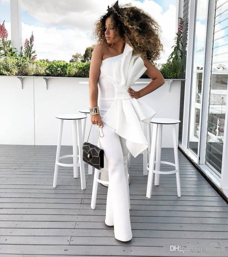 Vintage White Women Jumpsuit Prom Dresses With Big Bow One Shoulder Formal Party Evening Gowns Custom Made Special Occasion Dress