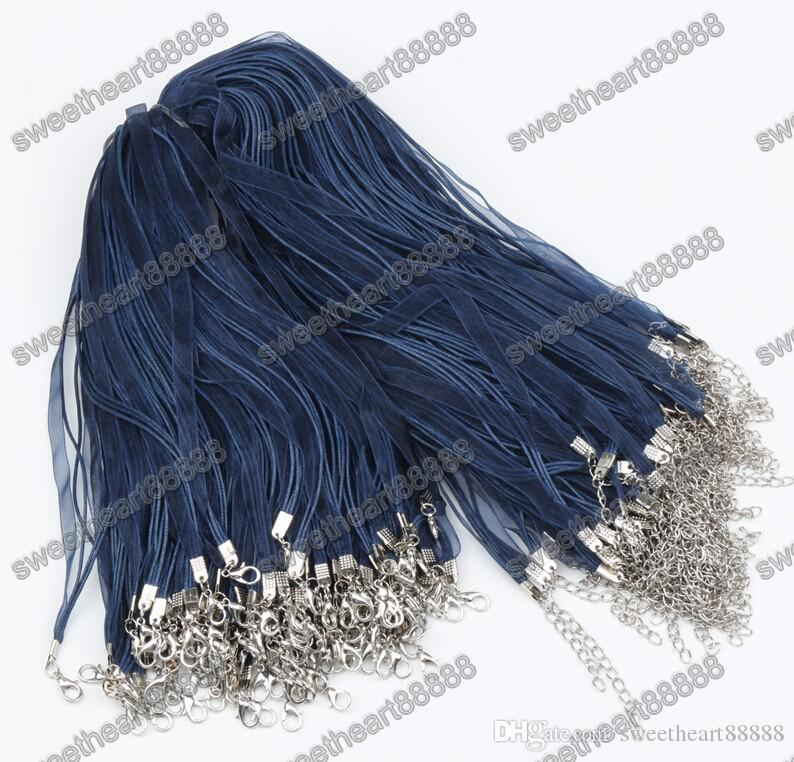 "New Navy Organza Voile Ribbon Cord Necklaces 18"" Wire Jewelry DIY Jewelry Findings Components"