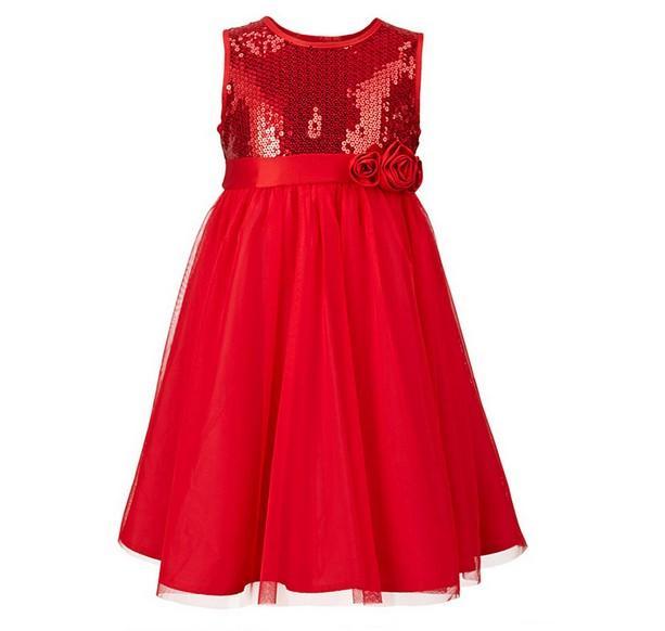 2018 New Summer Girl Sukienka Bez Rękawów Kwiat Gaza Dla Dzieci Kamizelki Księżniczka Suknie Cekiny Czerwony Niebieski 100-140 Fit 3-7age Dzieci ubrania Nosić TR22