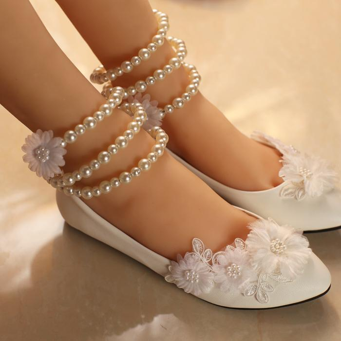 White Lace Flowers Wedding Shoes For Women Plus Sizes Ankle Pearls Bracelets Bridal Dance Flats Shoe Davids Bridals Deseo From