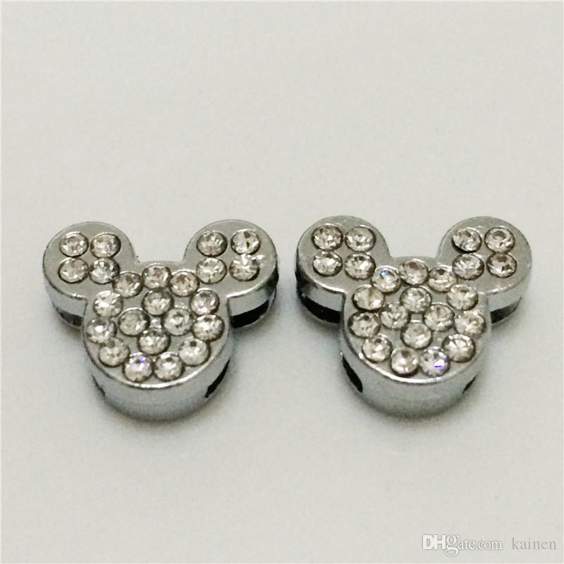 Hot!!8MM mickey Full Rhinestones DIY Slide Charms Silvery DIY Components Fit for 8MM Wristbands Bracelets Belts SC16