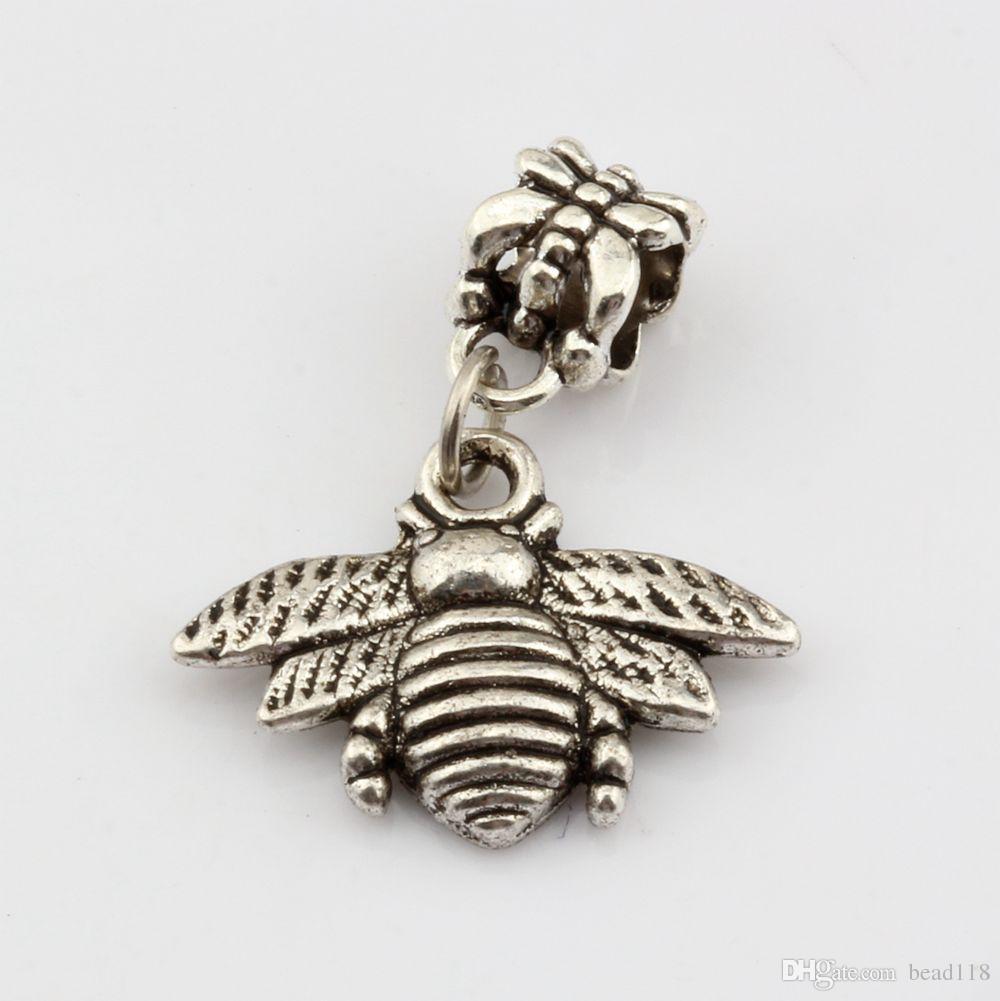 Heet ! 100 stks Antiek zilver bijen Charms Dangle Bead Fit Charm Armband DIY Sieraden 28 * 21mm