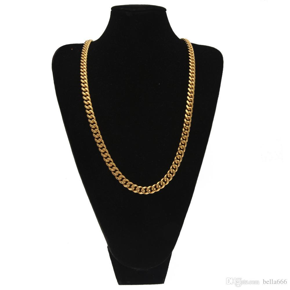 10 мм мужчины кубинская цепь Майами ссылка ожерелье хип-хоп горный хрусталь из нержавеющей стали цепи Застежка ожерелья ювелирные изделия 75 см длиной золото серебряный цвет