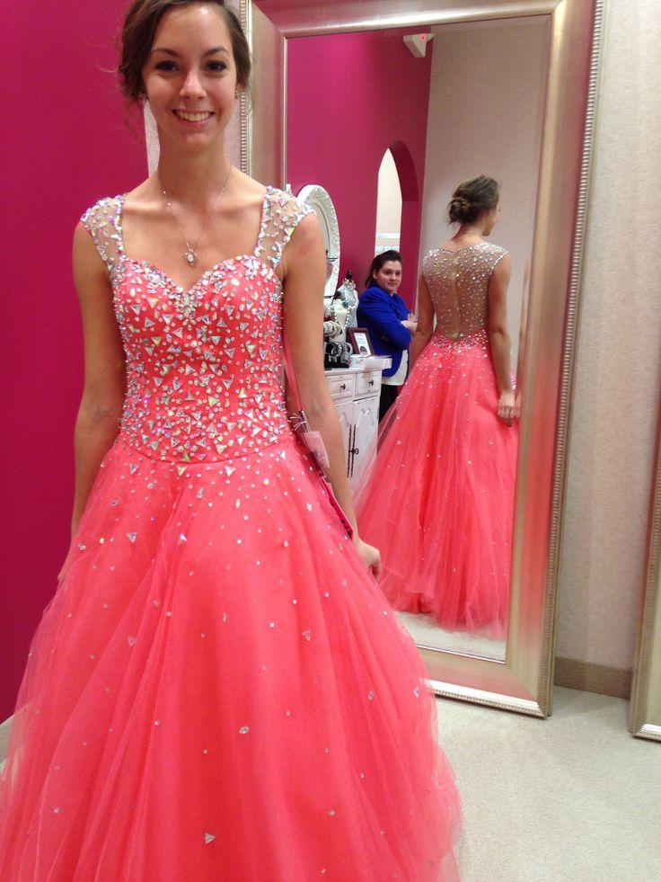 Compre Luxury Crystals Prom Dresses 2017 Ball Gown Coral Tulle ...