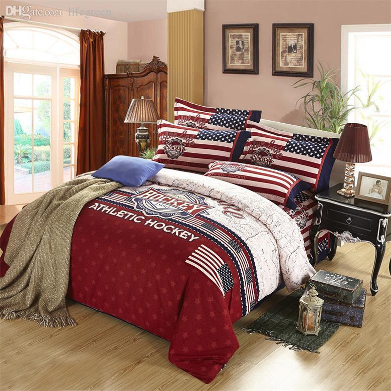 wholesale athletic hockey american flag softwarm cotton queenking size bedding set include 1quilt cover 1bed sheet 2pillowcase discount comforter sets