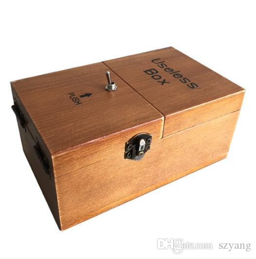Novelty Toys Turns Itself Off Useless Box Leave Me Alone Amazing Box Machine Fully Assembled in Real Wood as christmas gift
