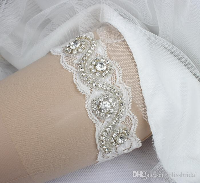 / Crystal Beaded Lace Bridal Garters Belts Pure White Wedding Accessories
