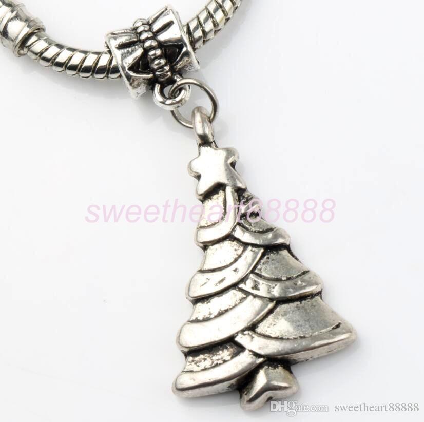 MIC tibétain argent mignon arbre de Noël flocon de neige bottes de stock stock bonhomme de neige élan pendentif charme 103004