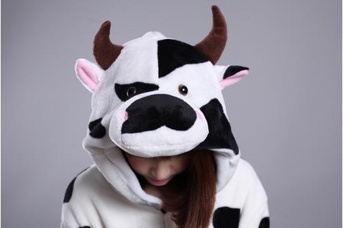 2014 New Winter Cartoon Cute Black Dots Cow Kigurumi Pajama Flannel Pajamas Hooded Conjoined Sleepwear Costume Adult Unisex Onesie Sleepwear