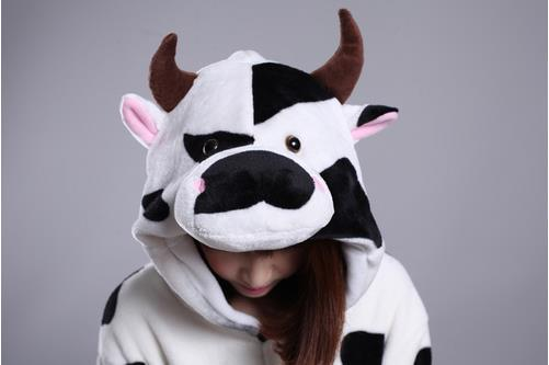 2014 Nuovo Inverno Cartoon Carino Nero Dots Cow Kigurumi Pigiama Flanella Pigiama Conjined Sleepwear Costume Adulto Unisex Tutina Sleepwear