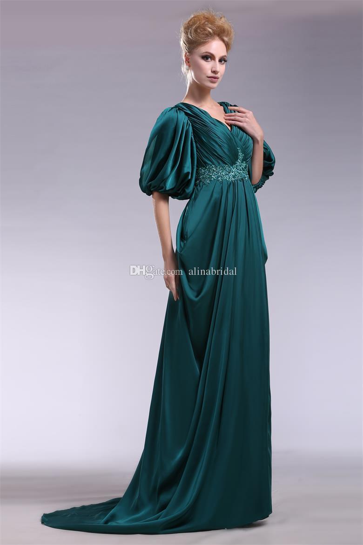 Gorgeous V-Neck Szmaragdowy Zielony Suknie Wieczorowe Z Pół Rękawami Linia Imperium Talia Długa Seksowna V Neck Formalna Party Elegancka Formalna Prom Dress