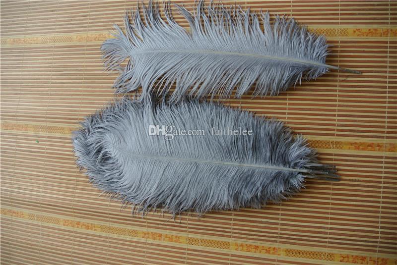 Бесплатная доставка 100 шт. / лот 18-20 дюймов серый страусиное перо шлейф для свадьбы центральным декор событие питания партии перо свадебные поставки