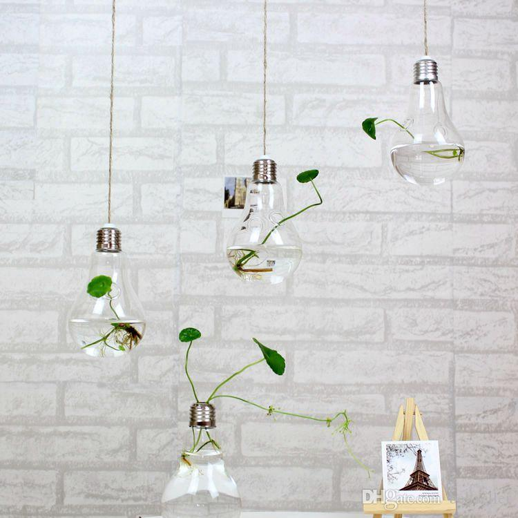 2015 fashion light bulb shaped glass hanging bulb vases clear air planter terrarium hanging vases for Christmas Ornaments home decor
