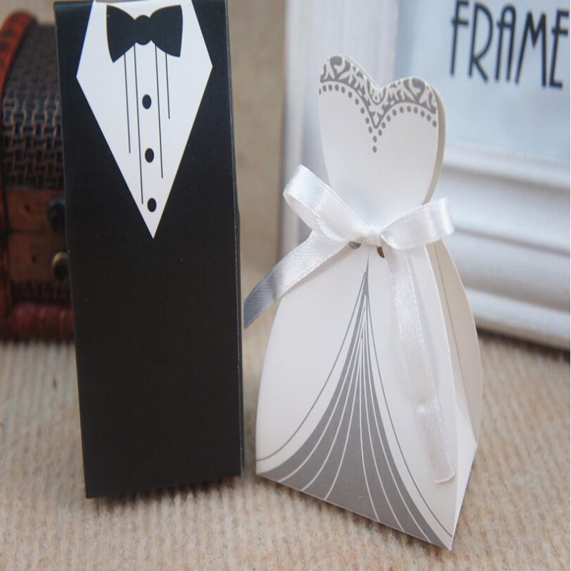 Inexpensive Wedding Gifts For Bride And Groom: 2015 Cheap Wedding Favor Boxes Groom &Bride Papery 100pecs