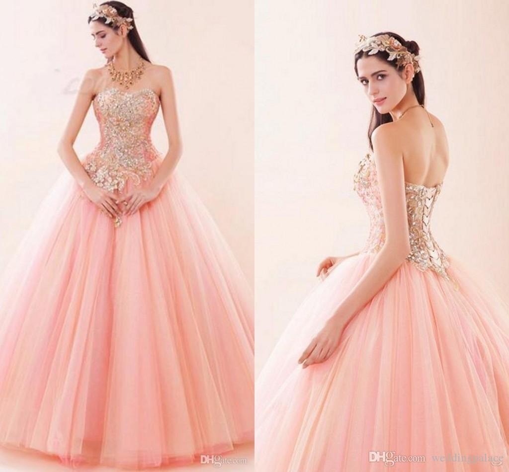 Most Beautiful Ball Gown Wedding Dresses: Pink Sexy Sweetheart Quinceanera Dresses Lace Up Tulle