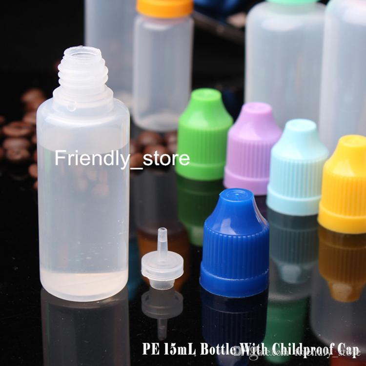 Toptan 2300 adet / grup 15 ml Yumuşak PE Plastik damlalıklı Şişeler Boş Iğne Şişeleri Ile 15 ml Çocuklara Dayanıklı Kapaklar Uzun Ince Ipuçları