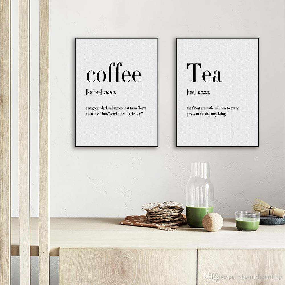 2018 Modern Black White Food Coffee Quotes A4 Posters Nordic Kitchen ...