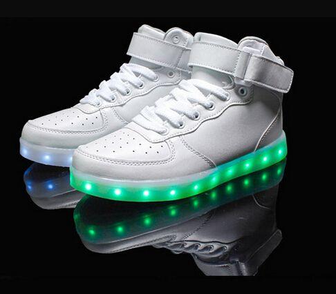 8036879b5a7de0 2016 New White Black High Top Flat LED Light Shoes Men Fashion Led Shoes For  Adults Shoes HOT Sale Shoe Plus Size 35 46 Leopard Print Shoes White  Mountain ...
