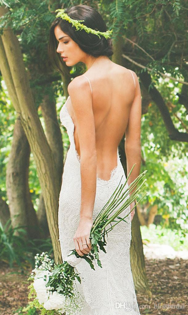 Katie May Neue 2016 Sexy Backless Hochzeitskleid Spitze Spaghetti Mantel Garten Strand Sheer Sommer Bridals Party Kleider Freies Verschiffen Billig