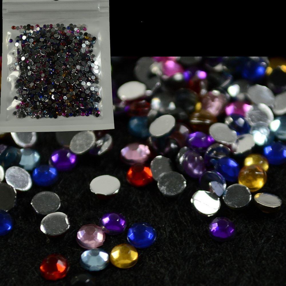 Compre 1bags Caliente Ronda Glitter Mixta Gemas Coloridas ...