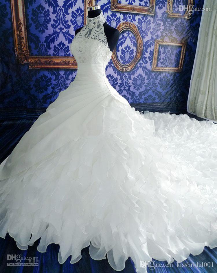 Weiße Brautkleider Spitze Ballkleid Brautkleider mit Spitze Applique Perlen High Neck Sleeveless Zip Back Organza Brautkleider