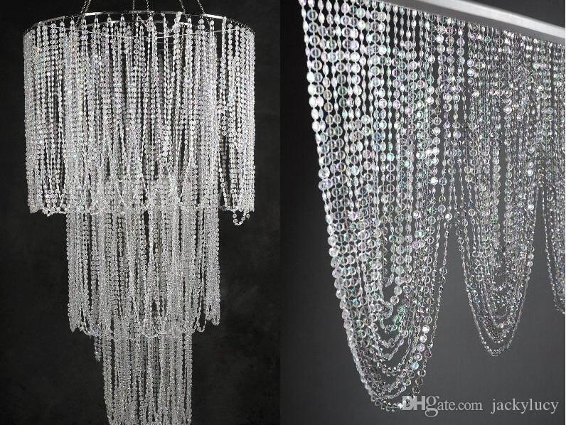 30M/99FT/roll10mm acrylic disk beaded Iridescent crystal garland strands for wedding decoration chandelier
