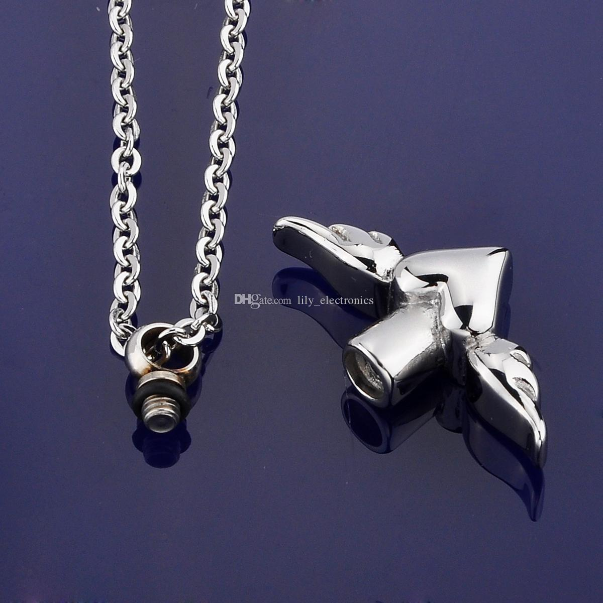 Lily Stainless Steel Angel Wing Charm waterproof urn pendant Necklace Memorial Ash Keepsake Cremation Jewelry with gift bag and chain