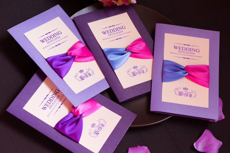 purple weddding invitations high quality uique elegant wedding