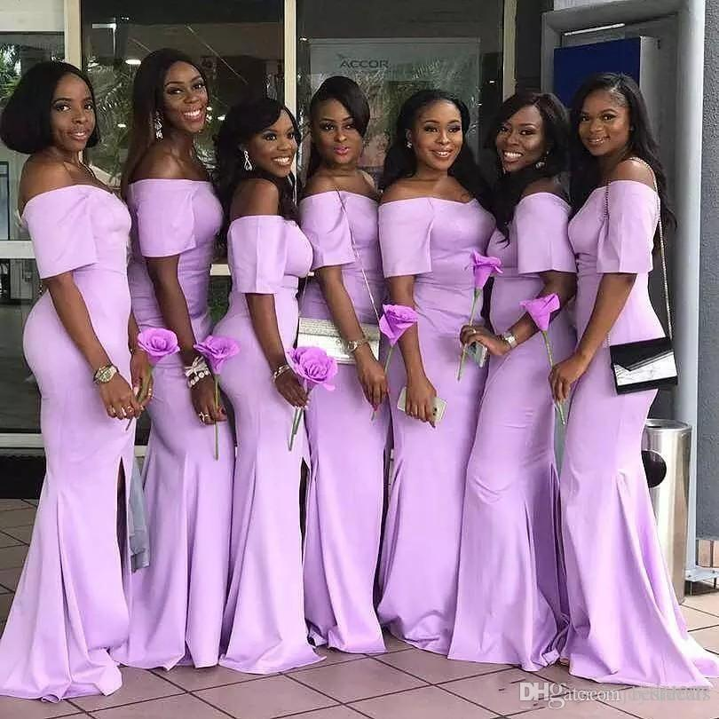 Off The Shoulder African Lavender Mermaid Bridesmaid Dresses With ...
