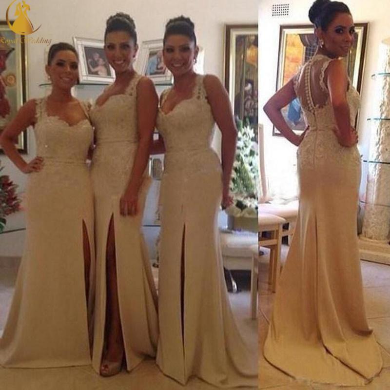 Elegante Sereia Longo Da Dama De Honra Vestidos Appliqued Lace Frisada Sexy Slit Formal Vestidos de Baile Vestidos de Espaguete Sheer Voltar Coberto Botões