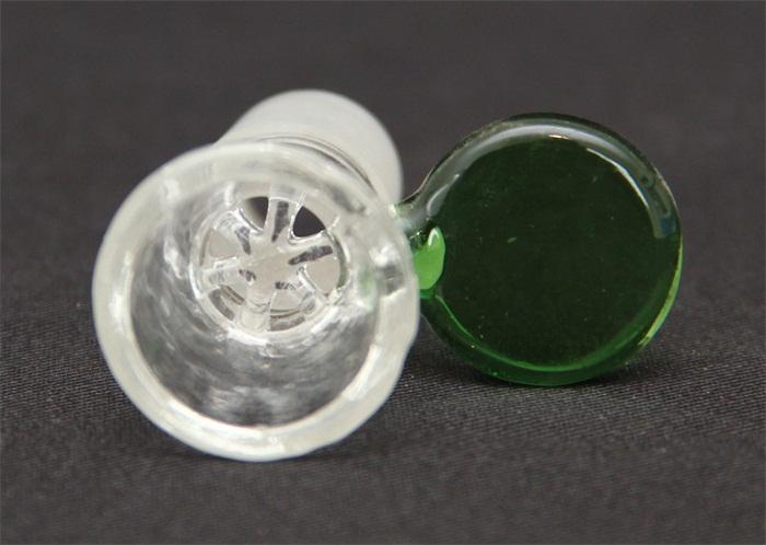 14mm 18mm male glass bowls glass water pipe fittings handle green or blue color bowl