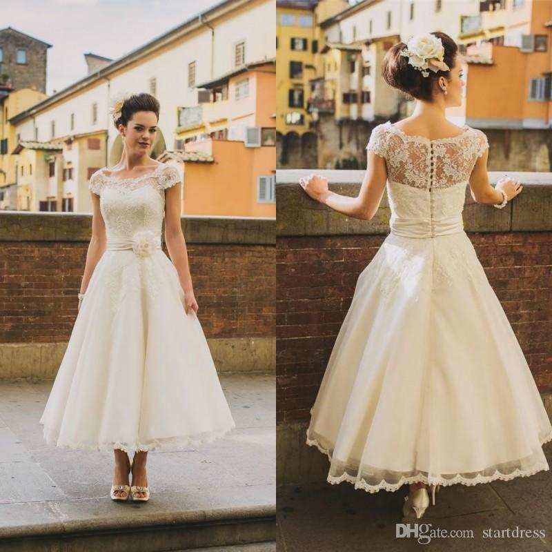 Discount Vintage Tea Length Wedding Dress Boho Ivory Cap Sleeve ...