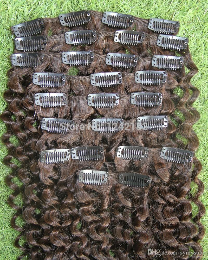 Grampo de Extensão Do Cabelo Humano Real Em Brasileiro Clipe Em extensões de cabelo virgem brasileiro encaracolado natural # 4 Marrom Escuro 8-30 polegada