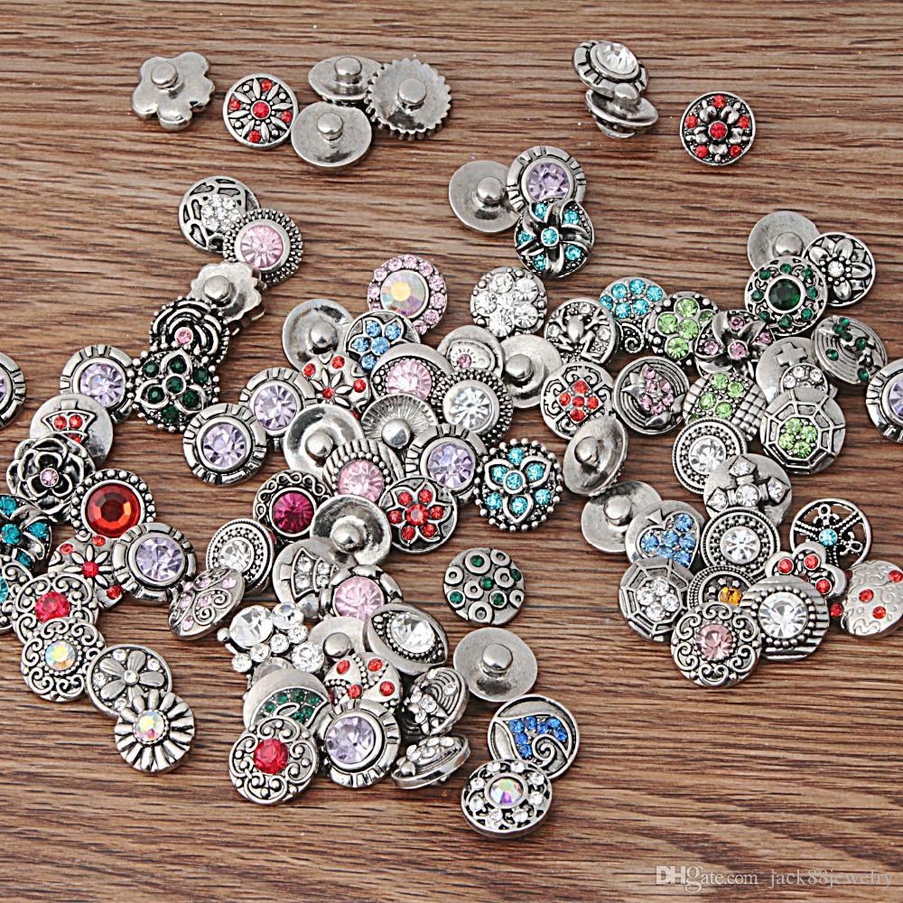 JACK88 YENI 200 adet / grup Birçok Stilleri Rhinstone Zencefil Snap Düğmesi için 12mm Snaps Düğme Takı Fit Deri Charm Bilezik N888